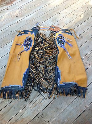 Vintage Cowboy Leather Chaps Used Fringed Western Rodeo Decor