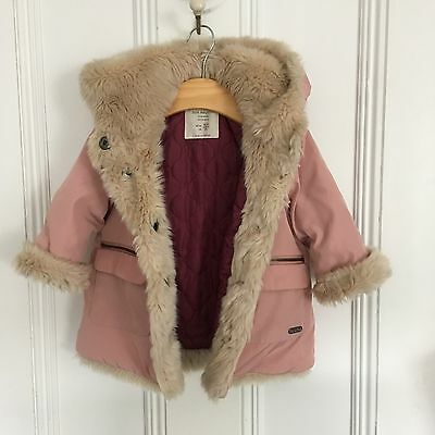 Pink Zara Coat With Fur - Age 9-12 Months
