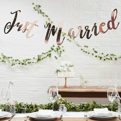 "GIRLANDE ""JUST MARRIED"", ROSÈGOLD,1,5M Romantischer Schriftzug im Metallic-Look"