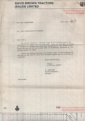 David Brown Tractor Sales Letter And Prices Dated 1968