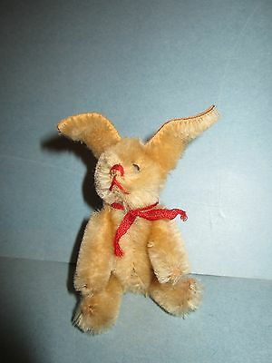 "Early Antique Vintage German Schuco 4 1/2"" Rabbit Red Ribbon Adorable NM+"