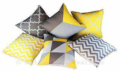 Collection of 6 Designs Yellow & Grey Linen Geometric 18 Inch Cushion Covers