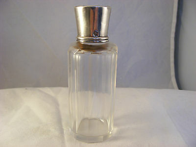 Scent  bottle with French silver top, gilded inside