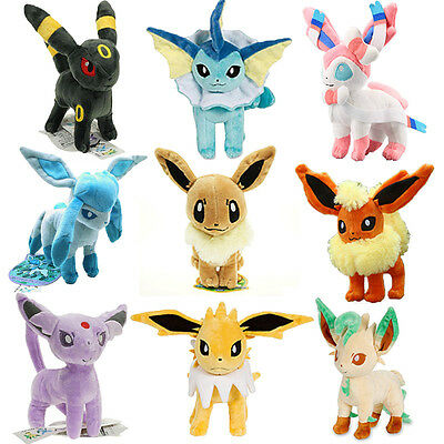 9 SETS New Pokemon Center Evolution of Eevee Umbreon Espeon Sylveon Plush Toys