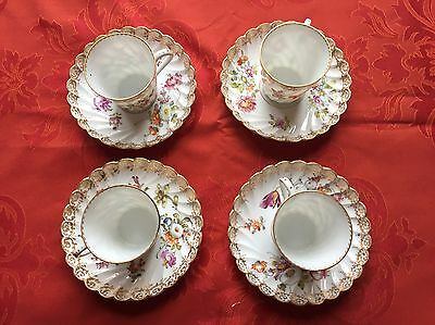 Dresden Porcelain Cups With Saucers