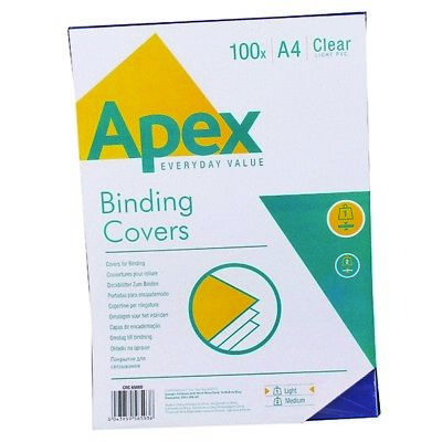 Apex Comb Binding Covers PVC 140 micron A4 Clear (Pack of 100) - NEW! 35998FE