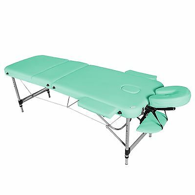 Green Lightweight Aluminium 3-Section Reiki Portable Massage Table Couch Bed