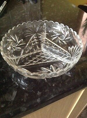 Cut Glass 24% Lead Crystal Cabaret Tray, New With Box