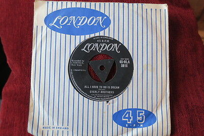 """The Everly Brothers All I Have To Do Is Dream 1958 Uk London Tri Center 7""""  Ex"""