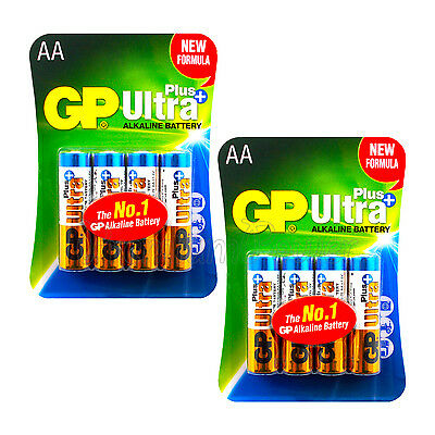 8 x GP Alkaline Ultra Plus AA batteries 1.5V LR6 MN1500 MIGNON EX:2023 Pack of 4
