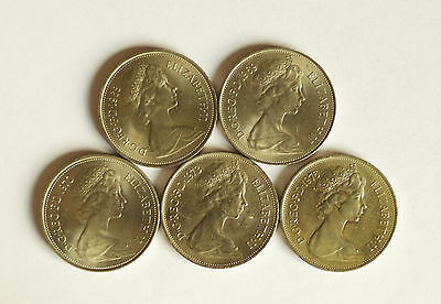 Five excellent early decimal TEN PENCE coins dated 1968, 1969, 1970, 1973 & 1976