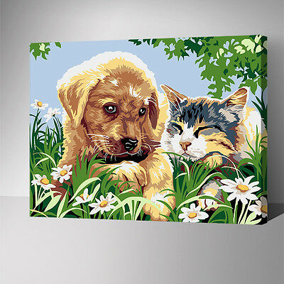 Painting by Number kit Puppy Dog and Cat In The Grass Little Animal Pet YZ7604