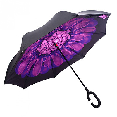 Windproof Reverse Folding Double Layer Inverted and Rain Protection Umbrella