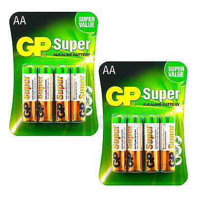 8 x GP Alkaline Super AA batteries 1.5V LR6 MN1500 MIGNON EXP:2023 Pack of 4