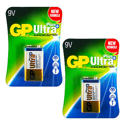 2 x GP Alkaline Ultra Plus 9V batteries 6LP3146 LR22 MN1604 6LR61 Block EXP:2021