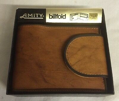 Beautiful Amity Wallet Mens Billfold Brown Leather Cowhide NOS NEW 30820