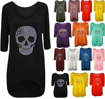 New Ladies Plus Size Skull Tail Back Dip Hem Womens Scoop Neck Long Top 14-28