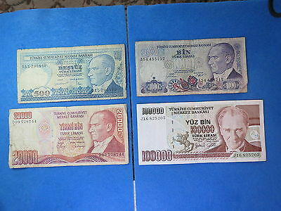 Turkey 1970 500 1000 20000 100000 Lira banknote Lot 4 Ps     [182]