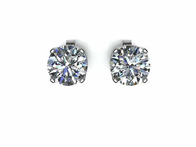 DIAMOND Stud Earrings 0.06ct H SI 9ct White Gold. Certificate GIE.FREE Shipping