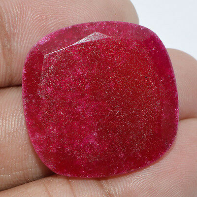 34.05 Cts.ROYAL RED RUBY QUARTZ FACETED CUSHION SHAPE LOOSE GEMSTONE