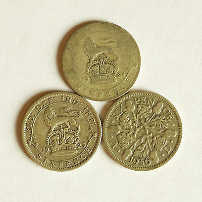 Three George V silver sixpence coins dated 1921, 1925 & 1936
