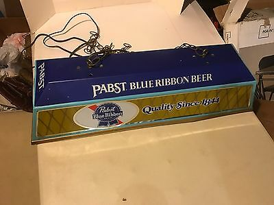 Vintage Pabst Blue Ribbon Beer Pool Table Hanging Light Up Sign Man Cave Bar