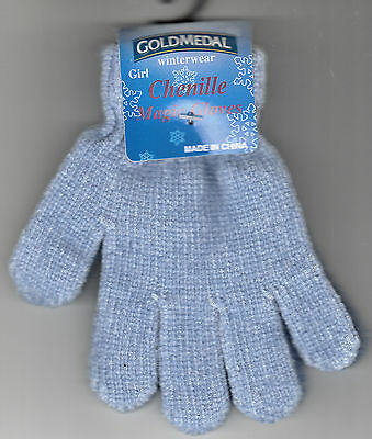 Children Gloves, Chenille Magic Light Blue by Gold Medal, One Size, New