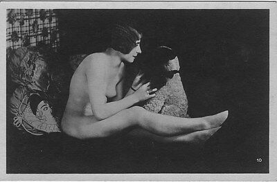 French NUDE real photo postcard circa 1920 BIEDERER10