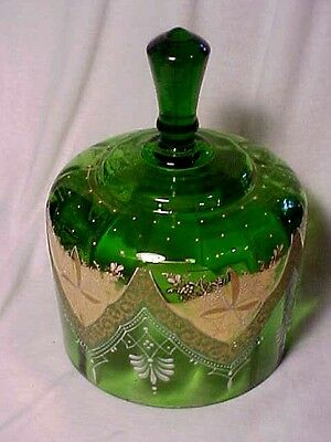 Victorian Green Glass Hand Painted Enamel Trim Cheese Dome Bell