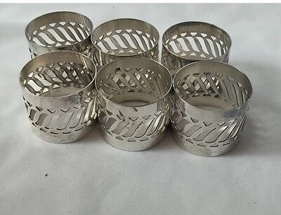 Silver Plated Napkin Rings Set Of 6 With Box Elegant Dining Room Decor