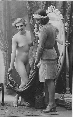 French NUDE real photo postcard circa 1920 BIEDERER 307 Flesh coloured