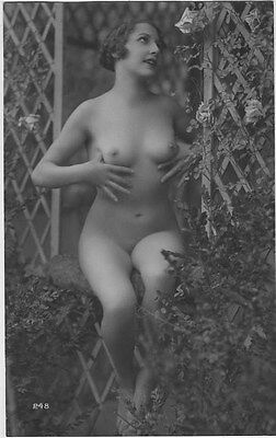 French NUDE real photo postcard circa 1920 BIEDERER 248 Flesh coloured