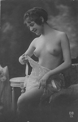 French NUDE real photo postcard circa 1920 BIEDERER OB13