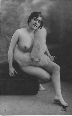 French NUDE real photo postcard circa 1920 RR31