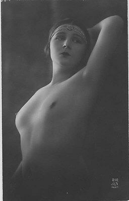 French NUDE real photo postcard circa 1920 AN210