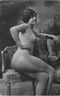 French NUDE real photo postcard circa 1920 BIEDERER OB18
