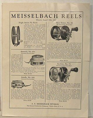 1938 flyer for Meisselbach fishing reels