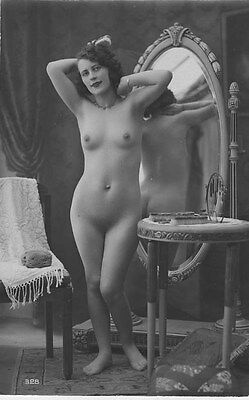 French NUDE real photo postcard circa 1920 BIEDERER Flesh coloured 328