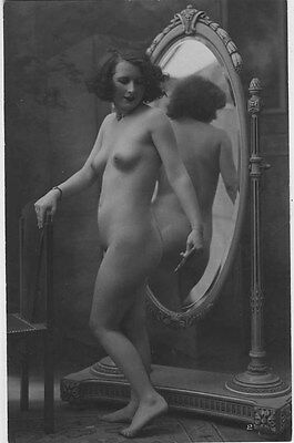 French NUDE real photo postcard circa 1920 BIEDERER Flesh coloured 2