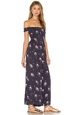 NWT New Free People ASTER JUMPSUIT Blue Purple Floral Off shoulder Sz S