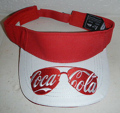 NWOT Coke Coca-Cola Sunglasses Embroidered Logo Recycled Sun Visor Hat Cap