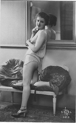 French NUDE real photo postcard circa 1920 SOL3219