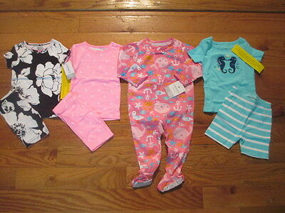 7 piece LOT of Baby Girl Spring/Summer pajamas size 12 12-18 months NWT