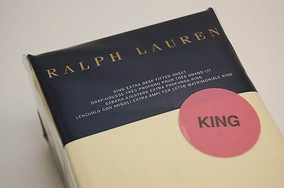 Ralph Lauren King Size Fitted Sheet Yellow Luxury Oxford New in Package