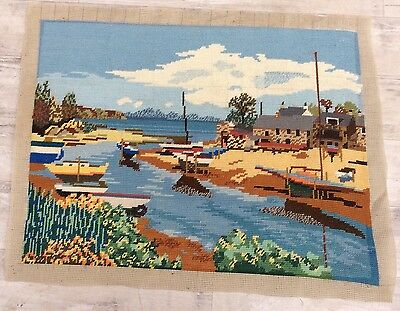 Completed Large Hand Stitched Tapestry Boat In A Harbour