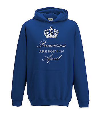 Juko Princesses Are Born In April Hoodie Girls Princess Hoody
