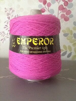 FOXSTONES EMPEROR PINK 4-PLY YARN/WOOL/ACRYLIC CONE, 400g, MACHINE/HAND KNITTING