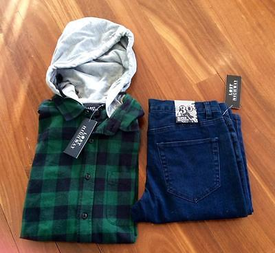 """Free Post Mens NWT Lost Highway Jeans & Hoody Size S & 30"""""""