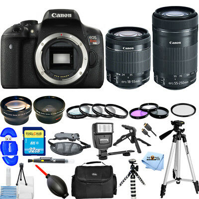 Canon EOS Rebel T6i DSLR Camera W/ 18-55mm & 55-250mm IS STM - 2 LENS MEGA KIT!!