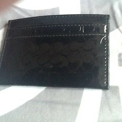 Womens COACH Black Patent Leather Card Holder Case/Wallet